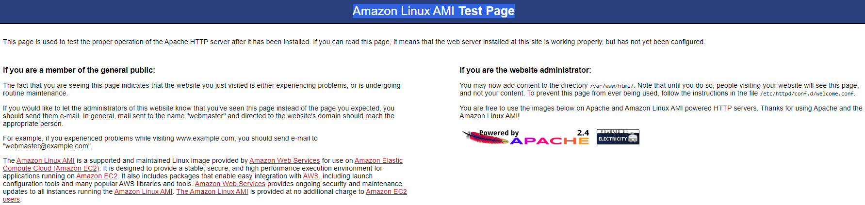 amazon linux AMI Test Page
