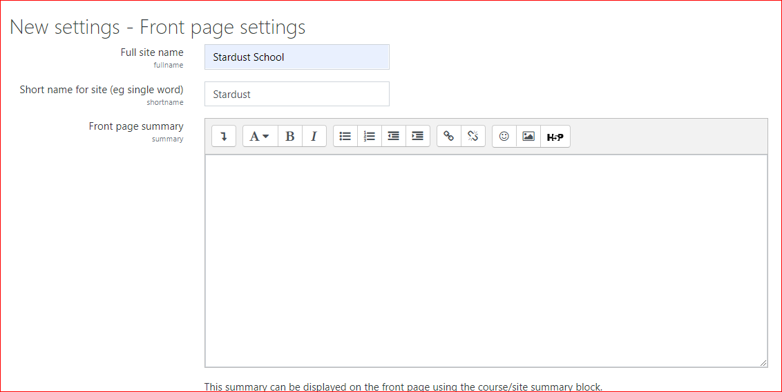 front page setting